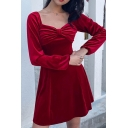 Pretty Girls Plain Long Sleeve Sweetheart Neck Bow Tie Twist Front Velvet Short Pleated A-Line Dress