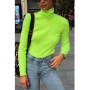 Fashionable Womens Long Sleeve High Collar Solid Color Slim Fitted T Shirt