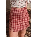 Lovely Girls Pink High Rise Plaid Patterned Slit Side Mini A-Line Skirt