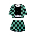 Fashionable Girls Short Sleeve Round Neck Geometric Belt Costume Patterned Relaxed Crop Tee with Shorts