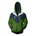 Stylish Street Long Sleeve Drawstring Zipper Front Colorblocked 3D Cosplay Printed Loose Hoodie in Green