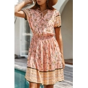 Ethnic Short Sleeve V-Neck All-Over Flower Patchwork Bow Tie Front Short A-Line Dress for Beach Girls