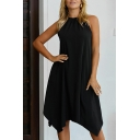 Pretty Ladies Solid Color Sleeveless Crew Neck Asymmetric Hem Midi A-Line Tank Dress for Special Occasion