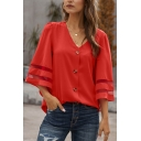 Fancy Ladies Bell Sleeves V-Neck Button Up Striped Relaxed Blouse Top in Red