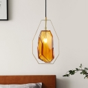 Nordic Faceted Pendant Light Fixture Cognac/Smoke Gray Glass 1 Light Bedroom Hanging Lamp Kit