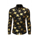 Guys Stylish Long Sleeve Lapel Collar Button Down All Over Floral Print Bronzing Fit Shirt