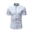 Simple Mens Short Sleeve Stand Collar Button Down Floral Embroidered Slim Fit Shirt