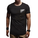 Sexy Mens Short Sleeve Round Neck Patchwork Pocket Slim Fit T Shirt