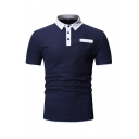 Simple Classic Short Sleeve Lapel Collar Button Up Contrasted Slim Fitted Polo for Guys