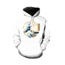 Korean Style Boys Long Sleeve Drawstring Japanese Letter Wave Graphic Pouch Pocket Loose Fit Hoodie in White