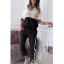 Cool Street Ladies Long Sleeve Half Zipper Color Block Patchwork Relaxed Fit Hoodie with Sweatpants