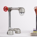 1 Light Metal Small Desk Lamp Industrial Grey Finish Right Angle Pipe Study Room Table Light with Valve Handle