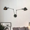 Vintage Bell Wall Light Sconce 2/3 Bulbs Metallic Wall Mount Lamp in Black with Swing Arm for Bedroom
