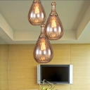 Art Deco Teardrop Hanging Lamp Kit 1 Bulb Amber Water Glass Pendant Ceiling Light