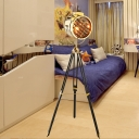 1 Head Cylindrical Floor Spotlight Art Deco Gold Metallic Standing Lamp with Black/Wood Tripod