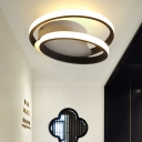 Minimalist LED Flush Light Black Double-Oval Ceiling Flush Lamp with Acrylic Shade in White/Warm Light