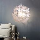 Acrylic Dandelion Suspension Light Contemporary 1-Head White Finish Pendant Lamp, 19
