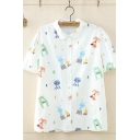 Fashionable Short Sleeve Lapel Collar Button Down Allover Cartoon Animal Printed Relaxed Shirt for Girls