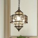 1 Light Lantern Hanging Ceiling Light Art Deco White Metal Pendant Lighting for Restaurant