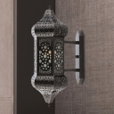 1 Bulb Lantern Wall Lamp Arabian Black Metal Wall Sconce Light for Restaurant