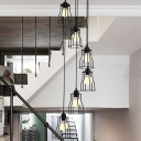 Industrial Cage Suspension Lighting Metal 6 Bulbs Living Room Multi Light Pendant in Black