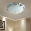 LED Bowl Ceiling Light Pastoral White Metal Flower Flush Mount Lighting for Dining Room, 16