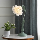 1 Bulb Scalloped Table Light Pastoral Gray and Green Metal Nightstand Lamp with White Glass Shade
