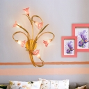 Lily Bedroom Wall Light Sconce Countryside Purple Glass 6 Heads Gold Wall Lighting Fixture