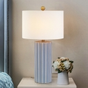 Modernist 1 Bulb Task Light White Cylindrical Small Desk Lamp with Fabric Shade