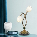 Floral Bedroom Night Table Light Pastoral Metal 2 Lights White/Yellow LED Nightstand Lamp