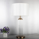 Gold Cylinder Table Lamp Contemporary 1 Bulb Crystal Reading Book Light for Study