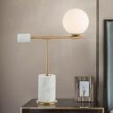 Opal Glass Round Desk Light Modernist 1 Bulb Gold Task Lighting with Cylinder Marble Base