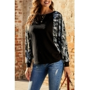 Classic Trendy Women's Long Sleeve Drop Shoulder Camo Printed Patchwork Relaxed Fit Pullover Sweatshirt
