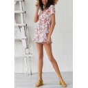 Fancy Fashion Short Sleeve V-Neck All Over Floral Patterned Tied Waist Jumpsuit Shorts in Orange