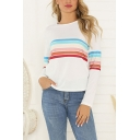 Casual Women's Long Sleeve Round Neck Stripe Printed Loose Fit T-Shirt