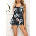 Sexy Pretty Girls Sleeveless Round Neck All Over Flower Printed Ruffled Trim Relaxed Fit Cami Top in Black