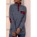 Casual Classic Long Sleeve Stand Color Plaid Pattern Panel Relaxed Fit Pullover Sweatshirt in Dark Gray