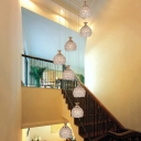 8 Bulbs Stair Cluster Pendant Modern White Hanging Light Fixture with Dome Clear Crystal Shade