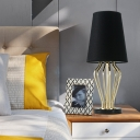 1 Bulb Wide Flare Nightstand Lamp Modernist Fabric Reading Book Light in Black
