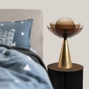 Contemporary 1 Head Task Lighting Gold Domed Night Table Lamp with Tan Glass Shade