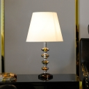 Wide Flare Nightstand Lamp Contemporary Fabric 1 Bulb Reading Book Light in White