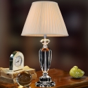 Contemporary 1 Bulb Reading Light Beige Flared Nightstand Lamp with Fabric Shade