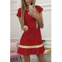 Stylish Women's Short Sleeve Round Neck Ruffled Trim Striped Short A-Line Dress