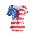 Popular Girls' Short Sleeve Round Neck Bow Tie Front Flag Patterned Relaxed Fit T-Shirt in White