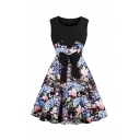 Stylish Women's Sleeveless Round Neck Bow Tie Waist Flower Pattern Panel Long Pleated Flared Dress in Black