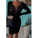 Formal Sexy Solid Color Long Sleeve Round Neck Button Front Mini Bodycon T-Shirt Dress for Ladies