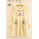 Cute Girls' Khaki Long Sleeve Peter Pan Collar Letter DREAM BIRD Chicken Flower Printed Pockets Side Midi Pleated Swing Dress