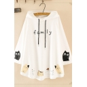 Fashionable Women's Long Sleeve Drawstring Letter FAMILY Cat Graphic Oversize Ears Hoodie