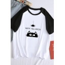 Funny Simple Girls Short Sleeve Crew Neck Letter HAPPY HALLOWEEN Cat Spider Pattern Loose Fit Tee