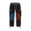 Black Cool Casual Long Sleeve Elastic Waist Flap Pockets Double X Print Drawstring Cuff Straight-Cut Jeans for Boys